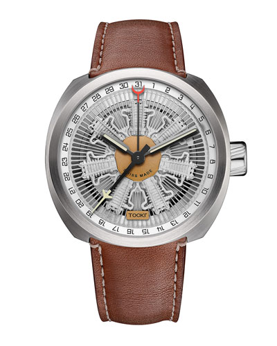 Radial C47C Leather Watch, Silver