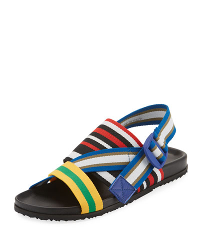 Striped Web-Strap Sandal