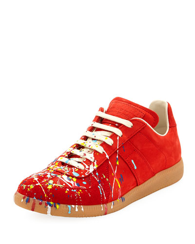Men's Replica Paint-Splatter Suede Low-Top Sneakers