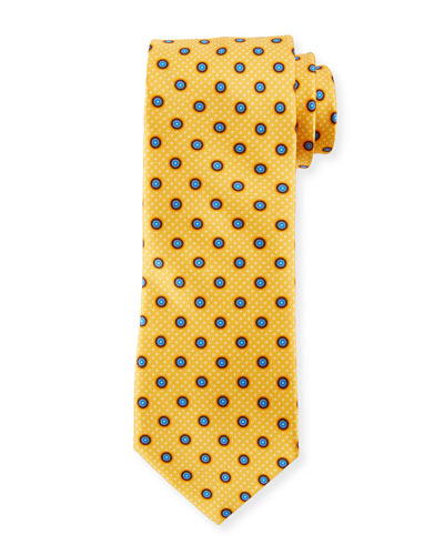 Multi-Circles Silk Tie, Yellow