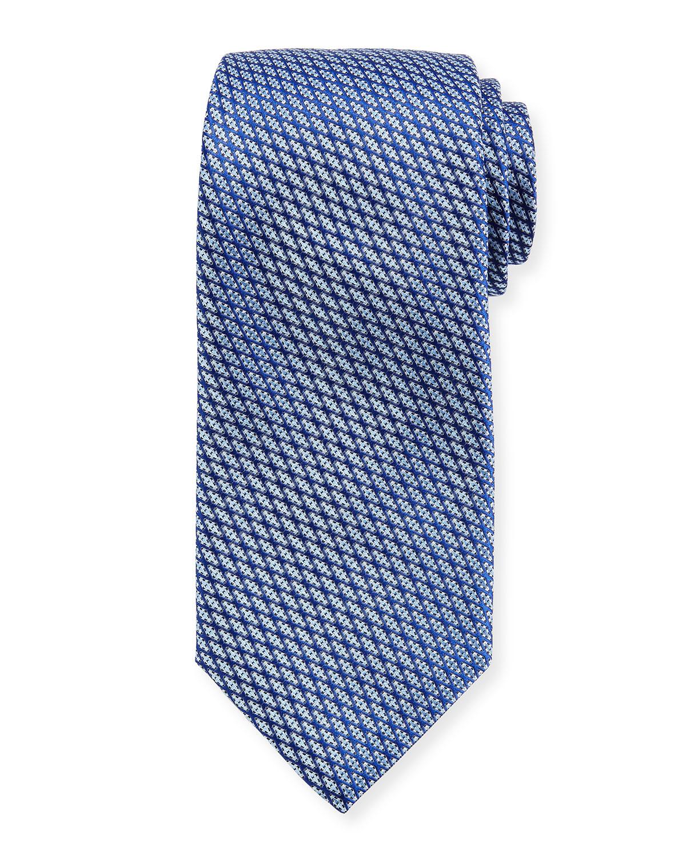 Lattice Silk Tie, Blue