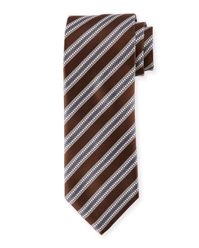 Textured Stripe Silk Tie, Brown