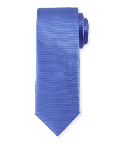 Solid Repp-Striped Silk Tie