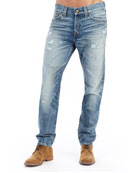 Logan Distressed Straight-Leg Jeans