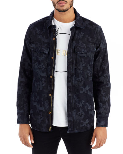 Camouflage-Print Denim Field Jacket