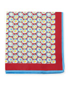 Kiton Swirl Circles Silk Pocket Square