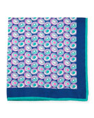 Kiton Swirl Circles Silk Pocket Square