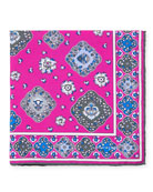 Kiton Moroccan Silk Pocket Square, Pink