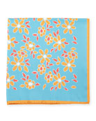Floral-Print Silk Pocket Square, Aqua Blue