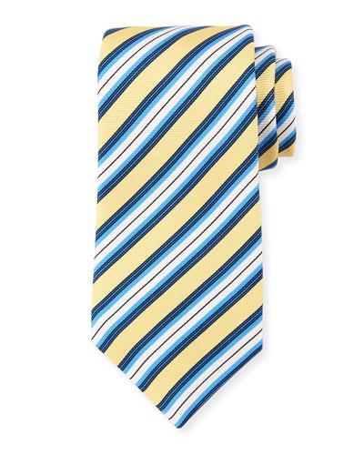 Multi-Stripe Textured Silk Tie