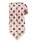 Fancy Medallion Silk Tie, Beige