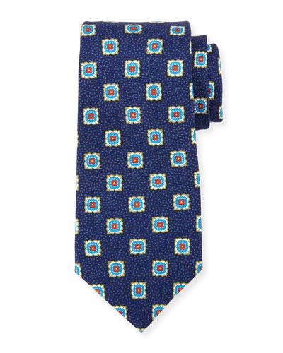 Fancy Medallion Silk Tie, Navy