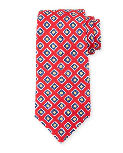 Square-Print Silk Tie