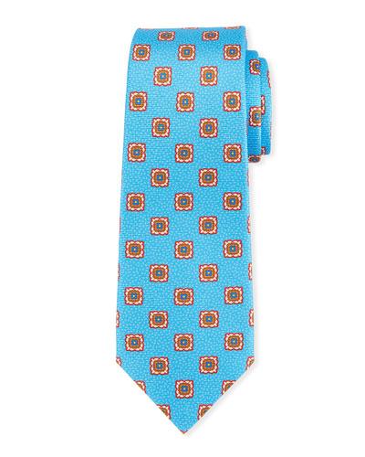 Fancy Medallion-Print Silk Tie