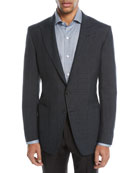 O'Connor 1/2-Lined Plaid Mohair-Linen Blazer