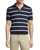 Striped Knit Polo Shirt