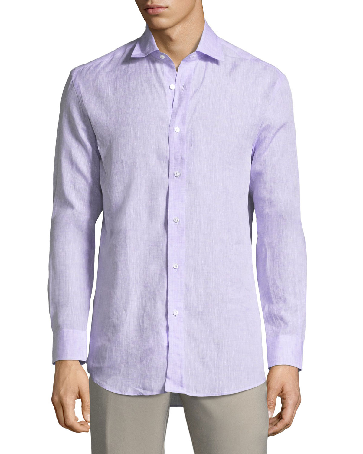 Textured Solid Linen Sport Shirt