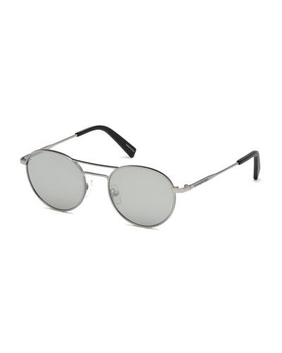 Metal Double-Bar Round Sunglasses