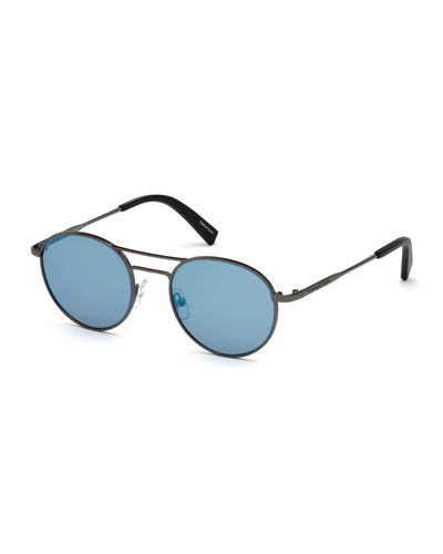 Gunmetal Round Sunglasses