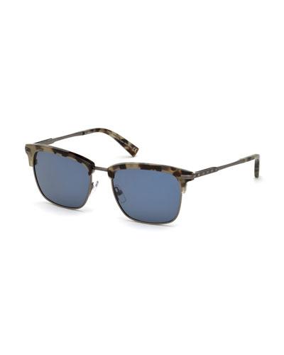Half-Rim Acetate/Metal Sunglasses