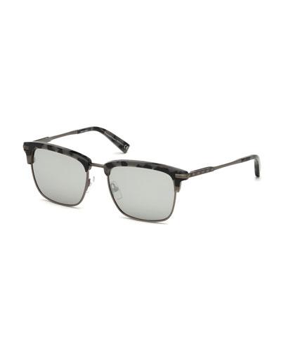 Half-Rim Acetate/Metal Sunglasses, Gray/Brown