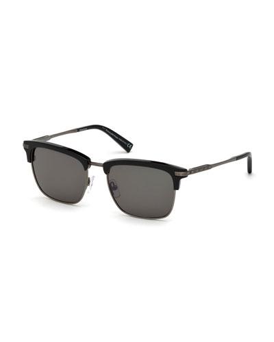 Square Metal/Acetate Sunglasses