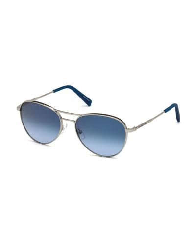Metal Double-Bar Round Aviator Sunglasses