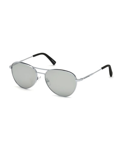 Metal Double-Bar Mirrored Aviator Sunglasses
