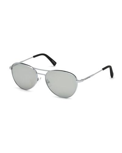 Metal Double-Bar Mirrored Aviator Sunglasses