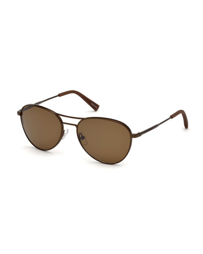 Bronze Metal Aviator Sunglasses