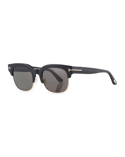 Harry Acetate/Metal Half-Rim Sunglasses
