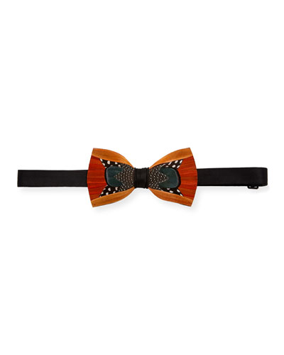 Trifecta Feather Formal Bow Tie