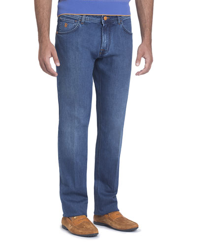 Stretch-Denim Slim-Straight Jeans with Cognac Patch