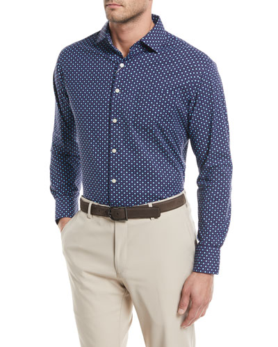 Jennings Performance Flower-Dot Print Sport Shirt