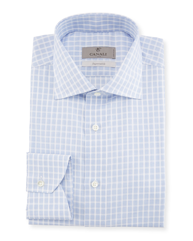 Bold Check Dress Shirt, Blue