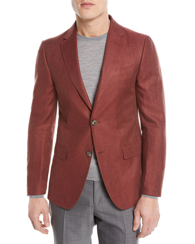 Linen/Cotton Herringbone Two-Button Jacket