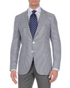 Check Silk/Cashmere/Linen Two-Button Blazer