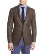 Windowpane Wool-Blend Two-Button Jacket
