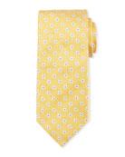 Box Dot Silk Tie, White/Yellow
