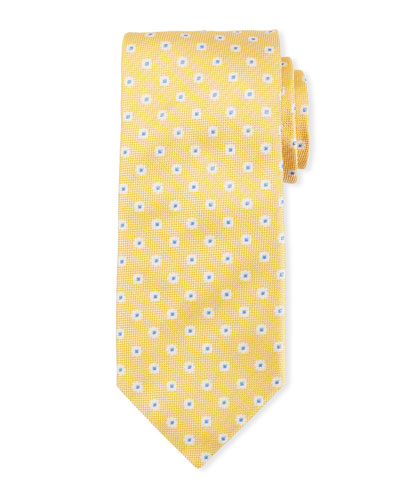 Box Dot Silk Tie, White/Yellow