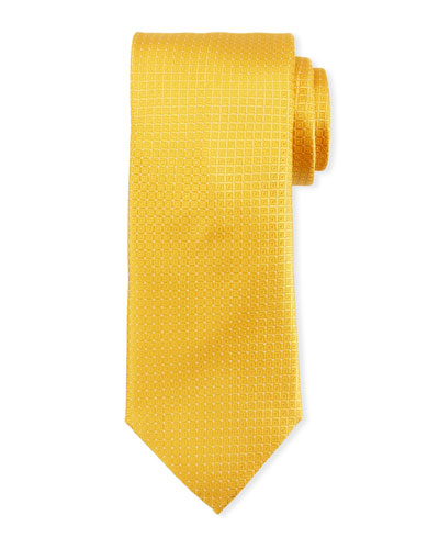 Tonal Box-Pattern Silk Tie, Yellow