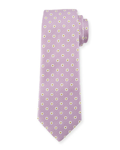 Box Dot Silk Tie, White/Purple