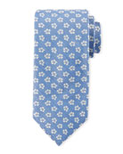 Floral Pattern Silk Tie, White/Blue