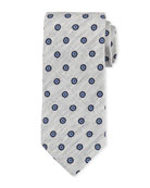 Printed Foulard Silk Tie, Neutral