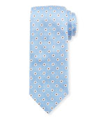 Box Dot Silk Tie, White/Blue