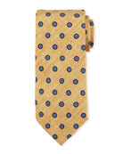 Printed Foulard Silk Tie, Yellow