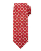 Floral Pattern Silk Tie, White/Red