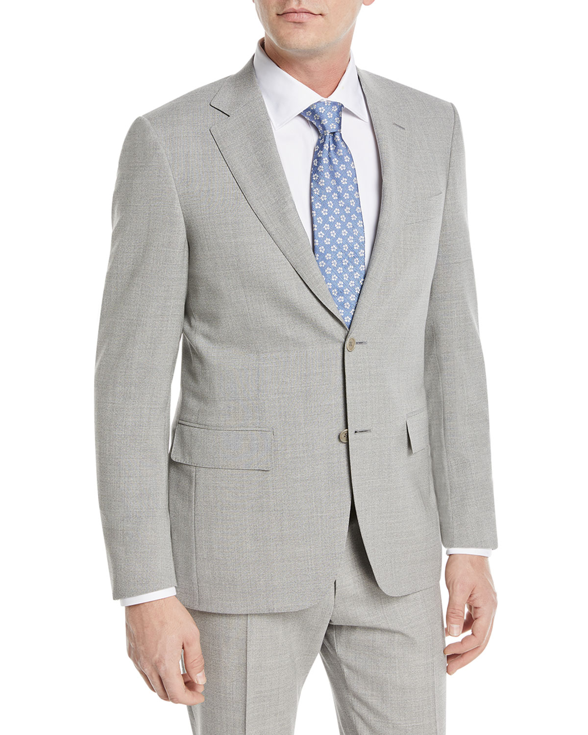 db4dddea56a CANALI HEATHERED SOLID WOOL TWO-PIECE SUIT, GRAY | ModeSens