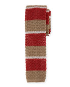 Horizontal Striped Knit Tie, Khaki