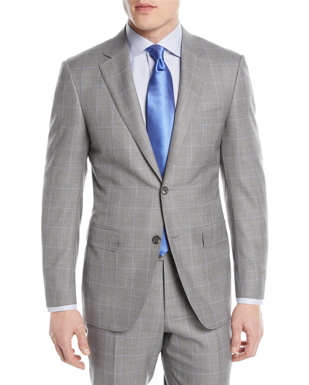 Windowpane Two-Piece Wool Suit, Light Gray